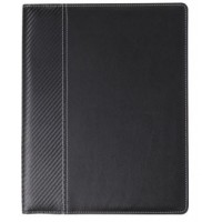 A4 Document folder with PU cover with notepad with 30 lined pages, microfibre lining, and pen loop